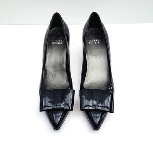 Stuart Weitzman Navy Patent Leather Bow Kitten 7